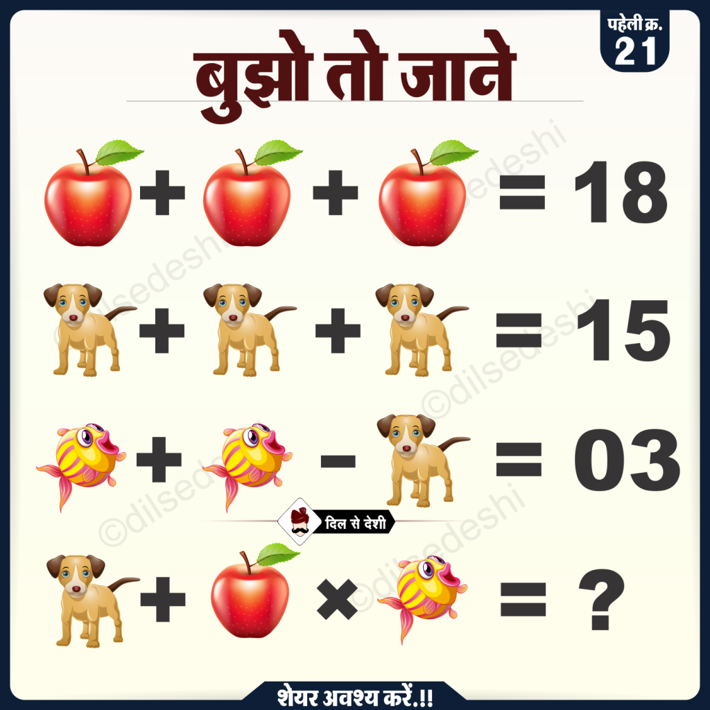 Apple, Dog and Fish Puzzle Quiz Questions Answer