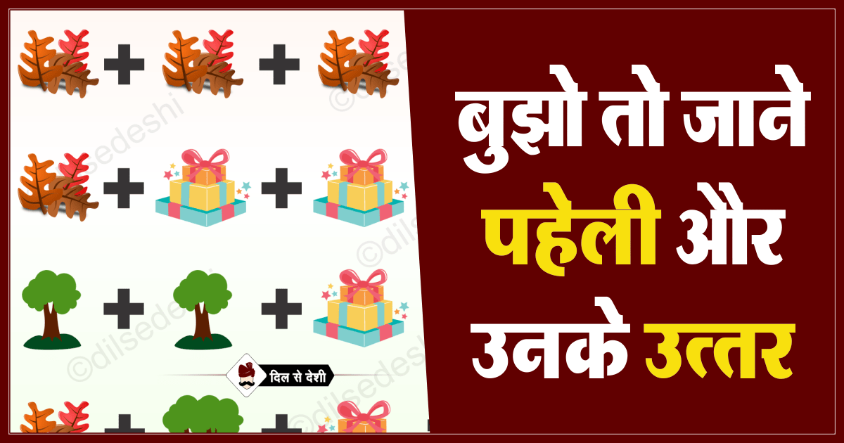 Leaves, Gift Pack and Tree Logical Puzzle Quiz Questions Answer