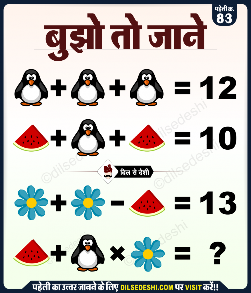 Penguin, Watermelon and Flower Logical Puzzle Quiz Questions Answers