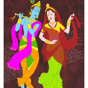 Dil Se Deshi Hindi Lord Krishna Wall Poster for OfficeHomeSchool